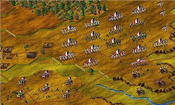 L'Armee du Rhine, from the Napoleonic Wargame Club, marches into battle. Image captured from Talonsoft's Napoleon in Russia.