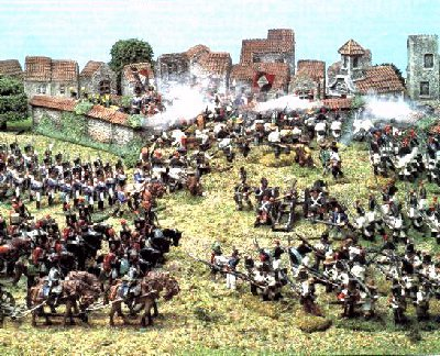 The French counterattack the Spanish and British. Image from Histoire et Figurines.